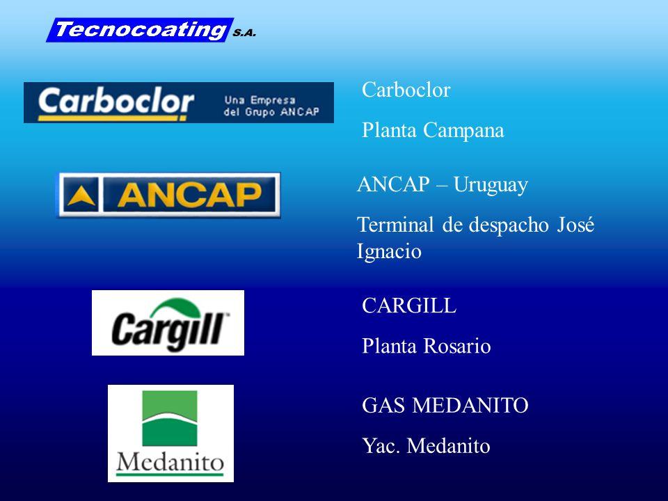 Carboclor Planta Campana ANCAP – Uruguay Terminal de despacho José Ignacio CARGILL Planta Rosario GAS MEDANITO Yac. Medanito