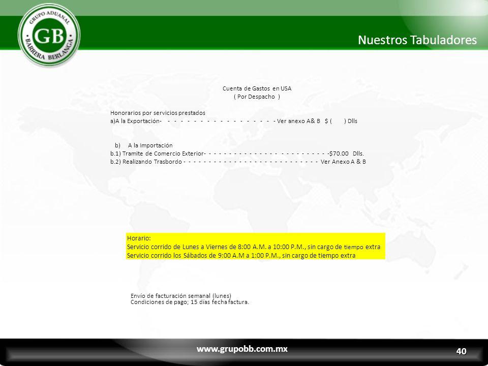 www.grupobb.com.mx Nuestros Tabuladores Cuenta de Gastos en USA ( Por Despacho ) Honorarios por servicios prestados a)A la Exportación- - - - - - - -