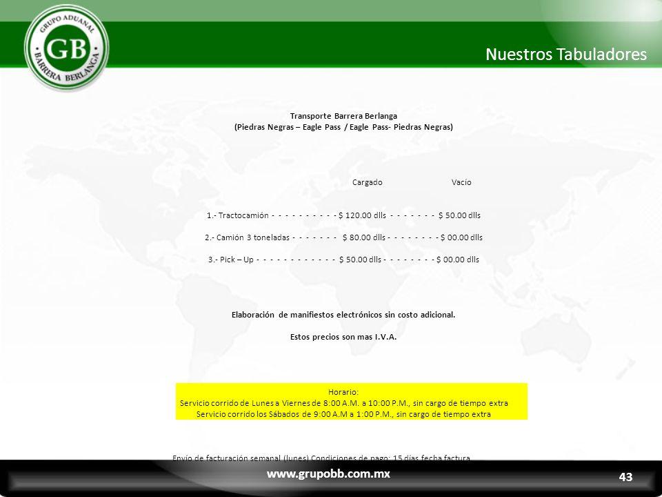 www.grupobb.com.mx Nuestros Tabuladores 43 Transporte Barrera Berlanga (Piedras Negras – Eagle Pass / Eagle Pass- Piedras Negras) Cargado Vacío 1.- Tr