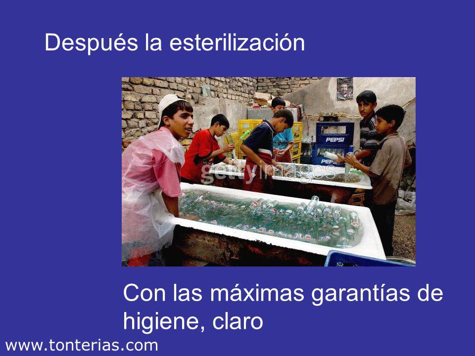 Primero se recogen los envases vacíos… Reciclar ante todo… www.tonterias.com