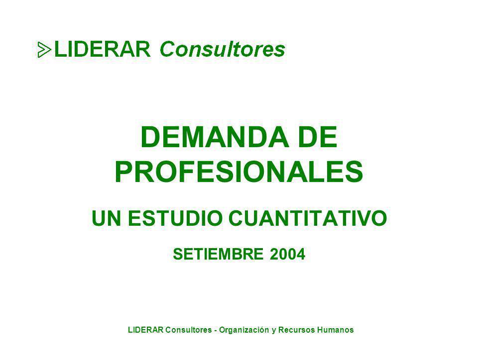 LIDERAR Consultores - Organización y Recursos Humanos DEMANDA DE PROFESIONALES UN ESTUDIO CUANTITATIVO SETIEMBRE 2004