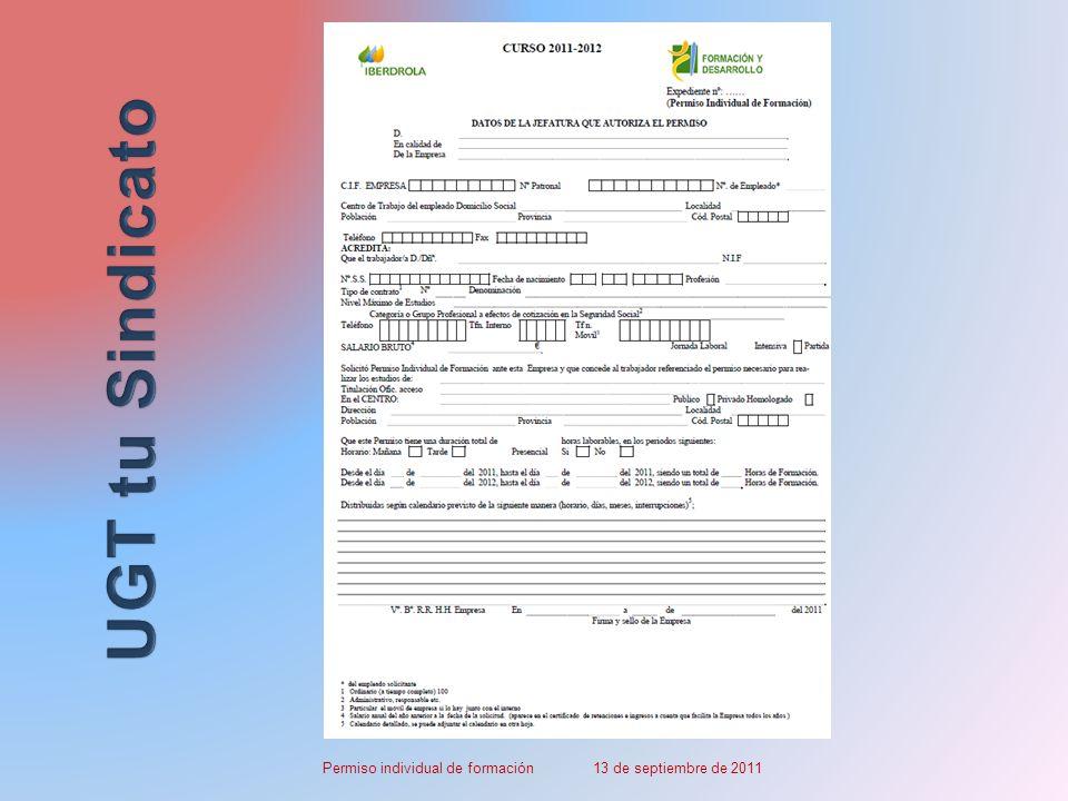 Permiso individual de formación 13 de septiembre de 2011