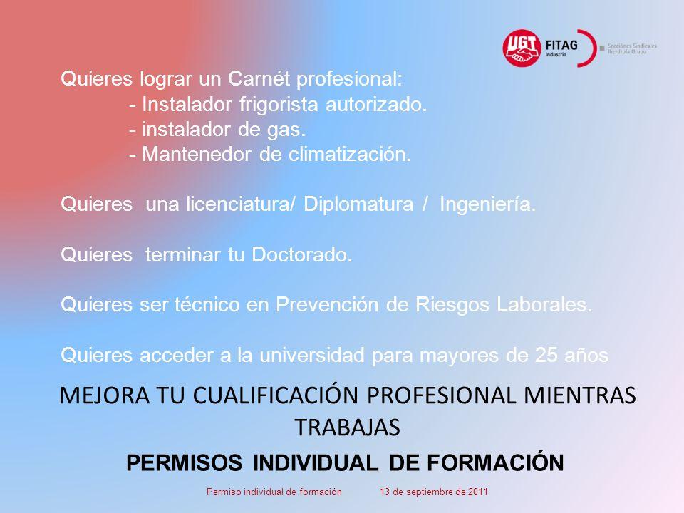 PERMISOS INDIVIDUAL DE FORMACIÓN Quieres lograr un Carnét profesional: - Instalador frigorista autorizado.