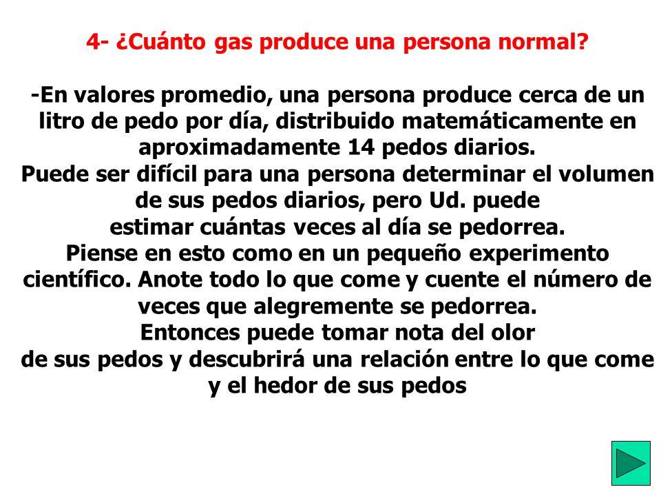 4- ¿Cuánto gas produce una persona normal.