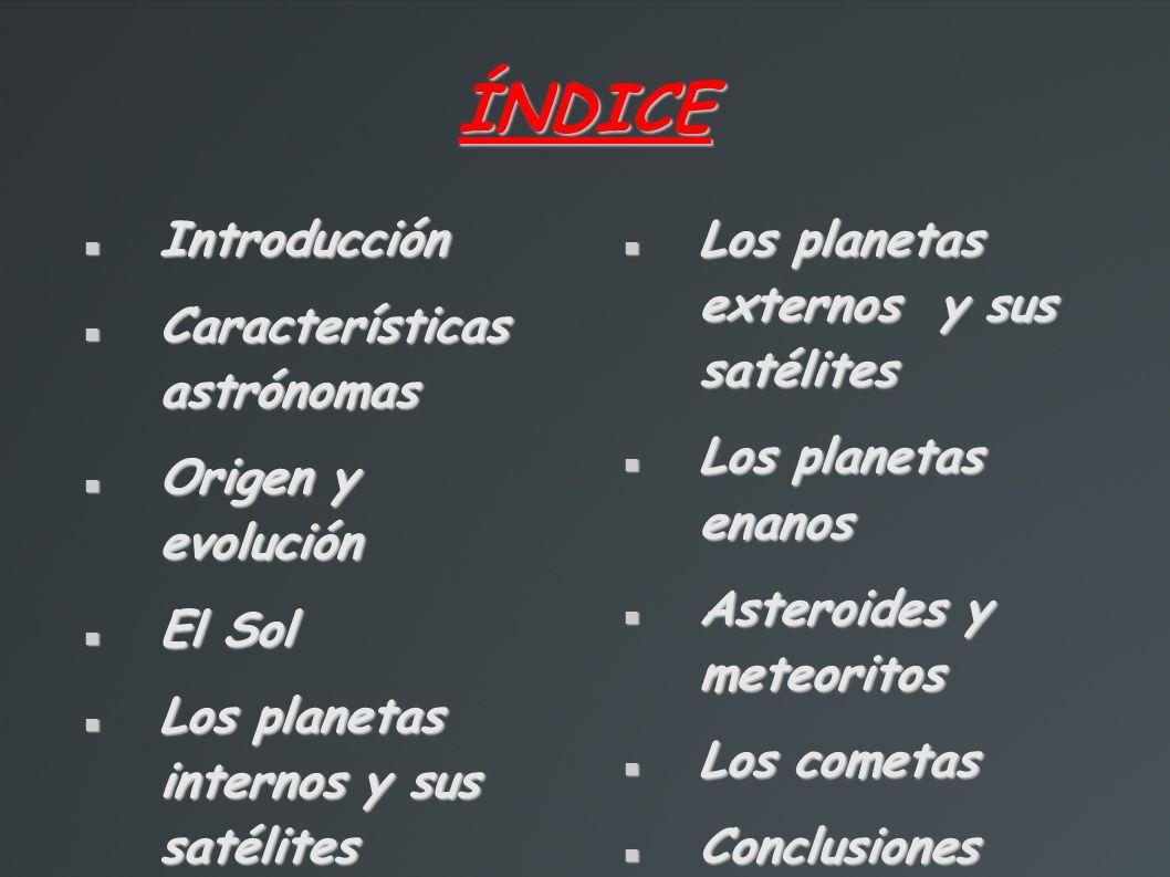 Introducción El universo compuesto por las estrellas, los planetas, los planetas enanos, las galaxias y otros cuerpos menores.