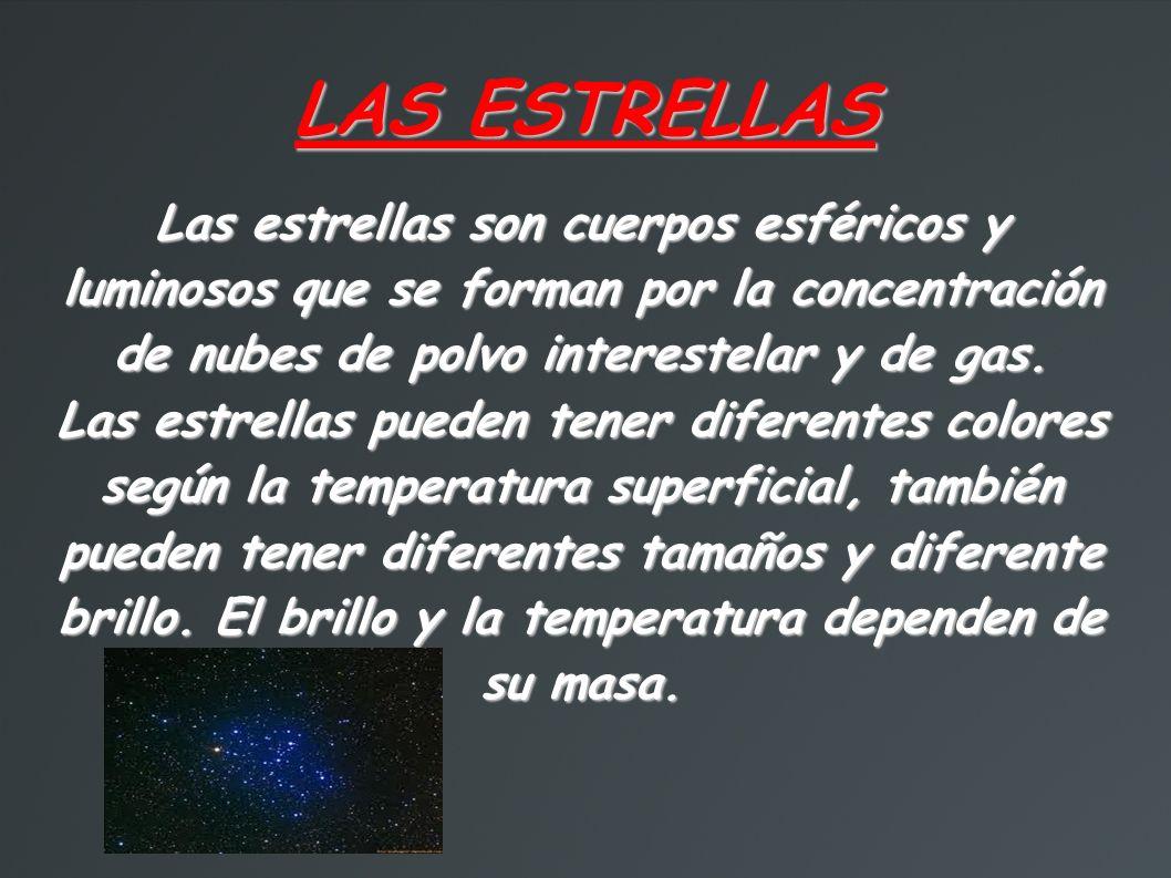LA EVOLUCIÓN DE LAS ESTRELLAS Las estrellas se forman en nebulosas, que son acumulaciones de gas y polvo que se sitúan en las galaxias, por un proceso de condensación.