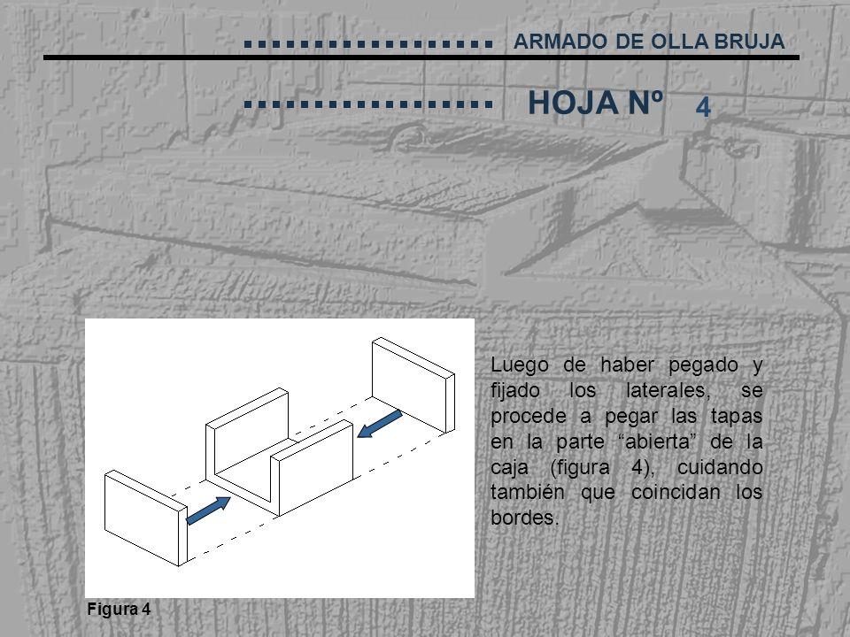 ARMADO DE OLLA BRUJA HOJA Nº 4 Luego de haber pegado y fijado los laterales, se procede a pegar las tapas en la parte abierta de la caja (figura 4), c