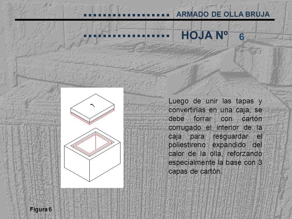 ARMADO DE OLLA BRUJA HOJA Nº Luego de unir las tapas y convertirlas en una caja, se debe forrar con cartón corrugado el interior de la caja para resgu