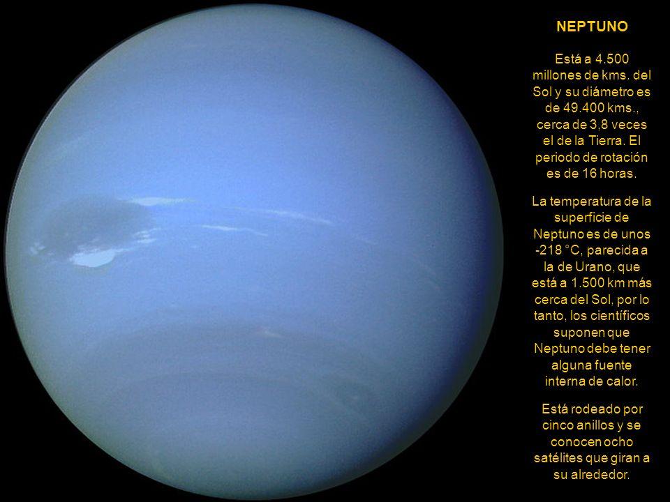 URANO Tiene un diámetro de 52.200 kms. (12.700 tiene la Tierra) y su distancia media al Sol es de 2.870 millones de kms. Tarda 84 años en completar un