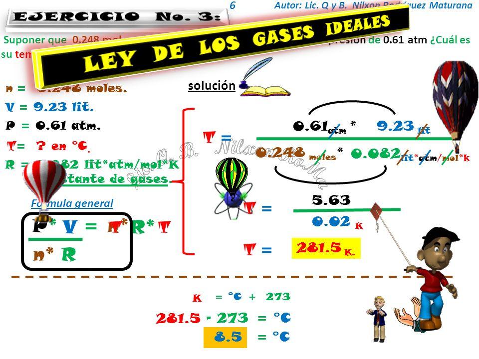 Autor: Lic. Q y B. Nilxon Rodríguez Maturana 6 solución Suponer que 0.248 moles de un gas ideal ocupan 9.23 lit a una presión de 0.61 atm ¿Cuál es su