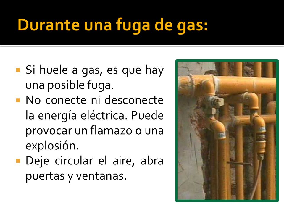 Si huele a gas, es que hay una posible fuga. No conecte ni desconecte la energía eléctrica. Puede provocar un flamazo o una explosión. Deje circular e