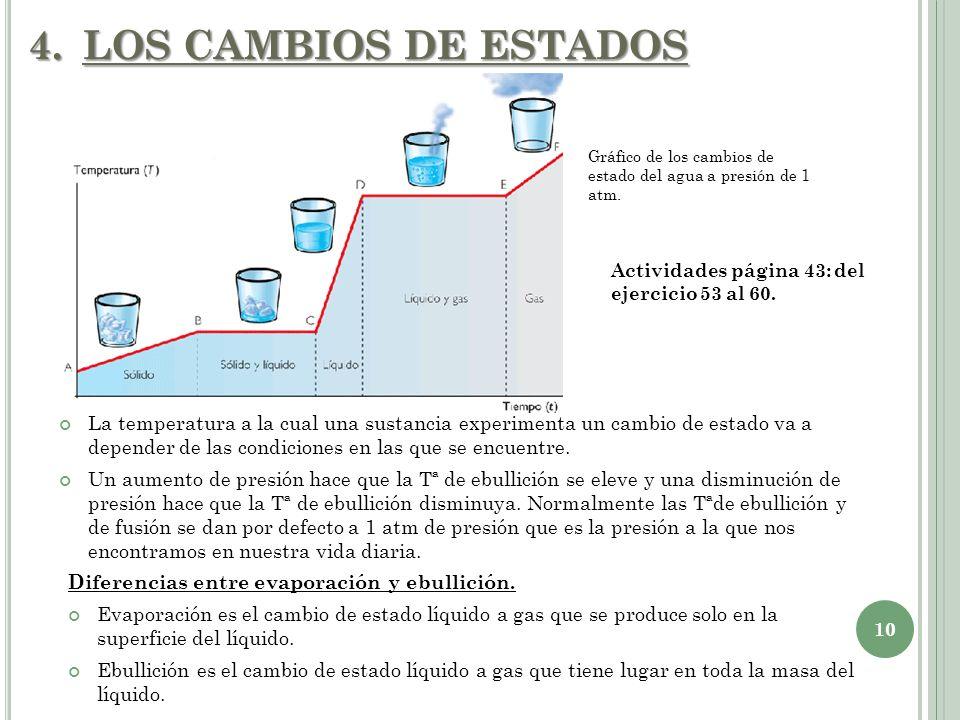 4.LOS CAMBIOS DE ESTADOS 10 La temperatura a la cual una sustancia experimenta un cambio de estado va a depender de las condiciones en las que se encu