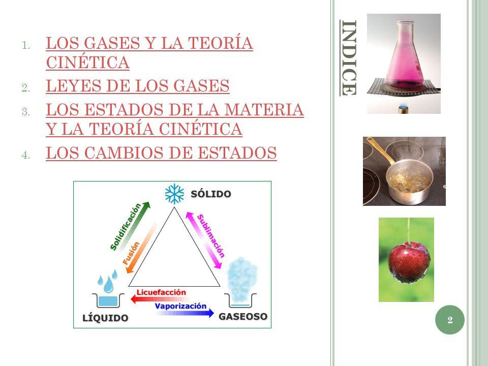 INDICE 1. LOS GASES Y LA TEORÍA CINÉTICA LOS GASES Y LA TEORÍA CINÉTICA 2. LEYES DE LOS GASES LEYES DE LOS GASES 3. LOS ESTADOS DE LA MATERIA Y LA TEO