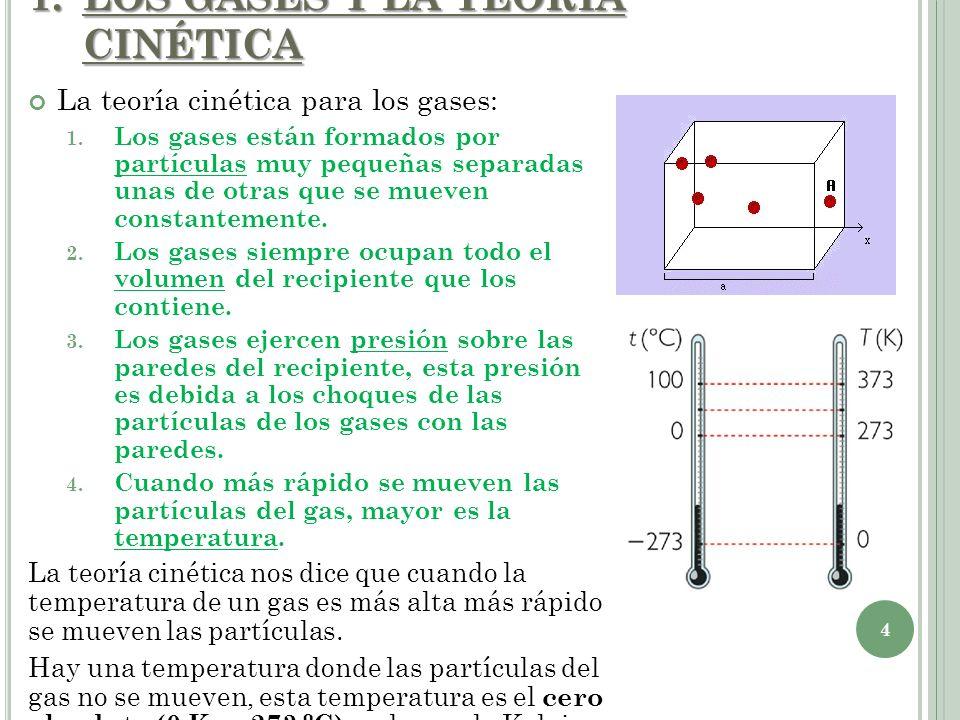 La teoría cinética para los gases: 1. Los gases están formados por partículas muy pequeñas separadas unas de otras que se mueven constantemente. 2. Lo