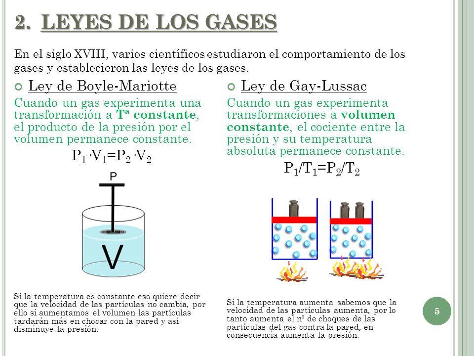 2.LEYES DE LOS GASES Ley de Boyle-Mariotte Cuando un gas experimenta una transformación a Tª constante, el producto de la presión por el volumen perma
