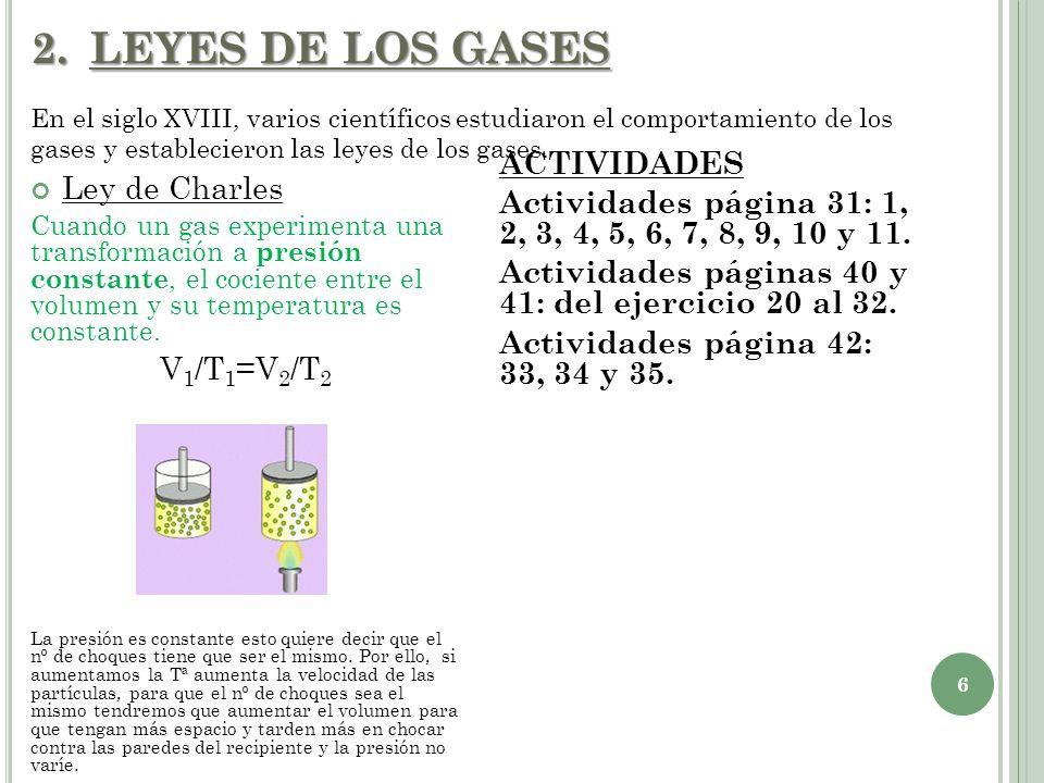 2.LEYES DE LOS GASES Ley de Charles Cuando un gas experimenta una transformación a presión constante, el cociente entre el volumen y su temperatura es