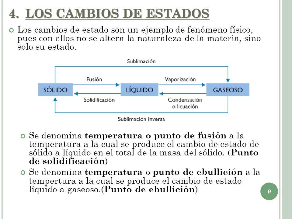 4.LOS CAMBIOS DE ESTADOS 9 Los cambios de estado son un ejemplo de fenómeno físico, pues con ellos no se altera la naturaleza de la materia, sino solo