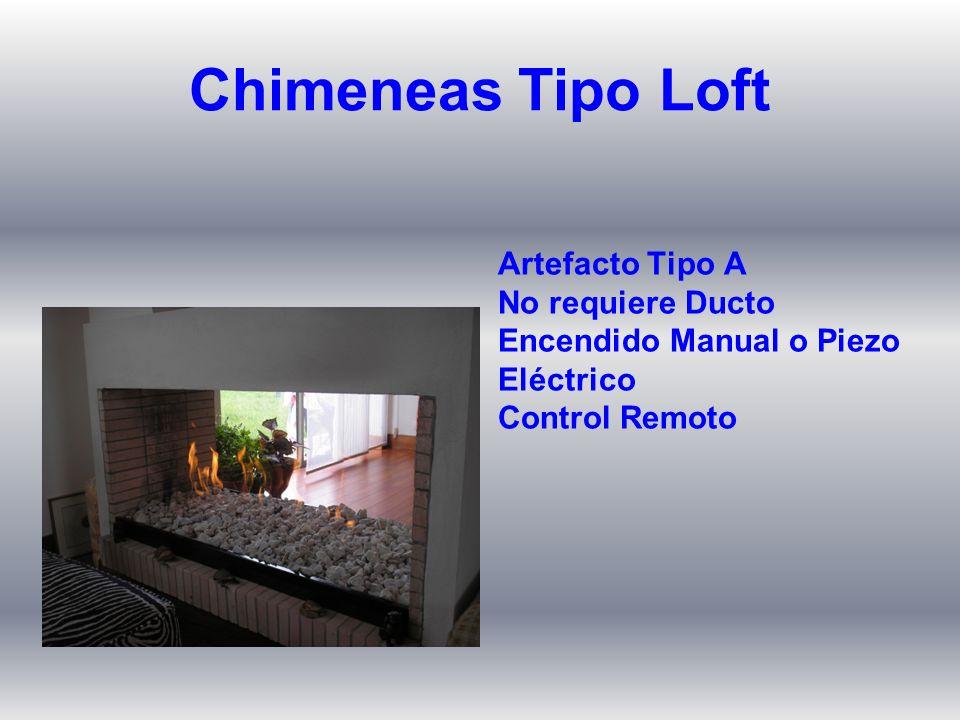 Artefacto Tipo A No requiere Ducto Encendido Manual o Piezo Eléctrico Control Remoto Chimeneas Tipo Loft
