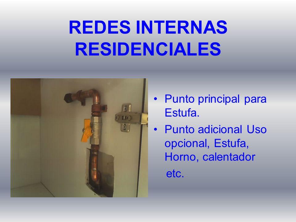 Punto principal para Estufa. Punto adicional Uso opcional, Estufa, Horno, calentador etc. REDES INTERNAS RESIDENCIALES