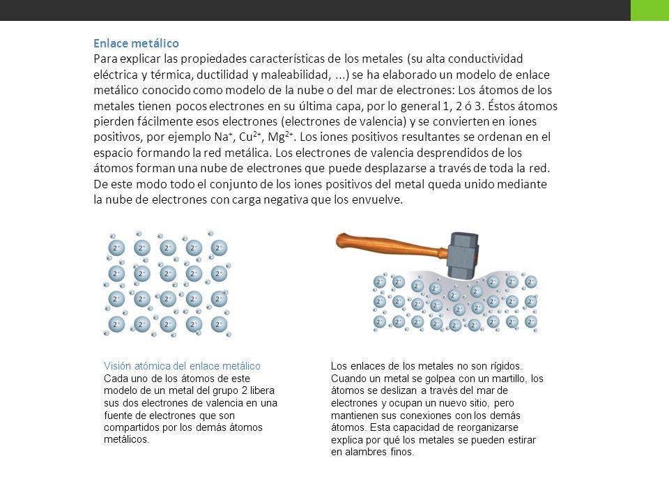 Enlace metálico Para explicar las propiedades características de los metales (su alta conductividad eléctrica y térmica, ductilidad y maleabilidad,...
