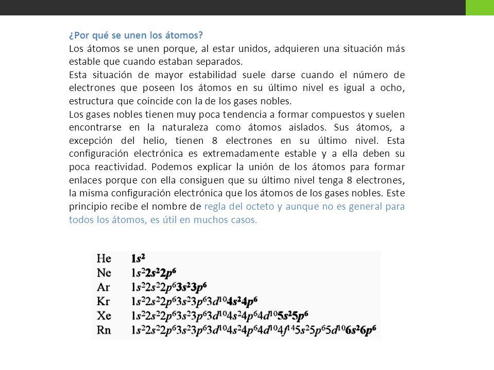 Distintos tipos de enlaces Las propiedades de las sustancias dependen en gran medida de la naturaleza de los enlaces que unen sus átomos.