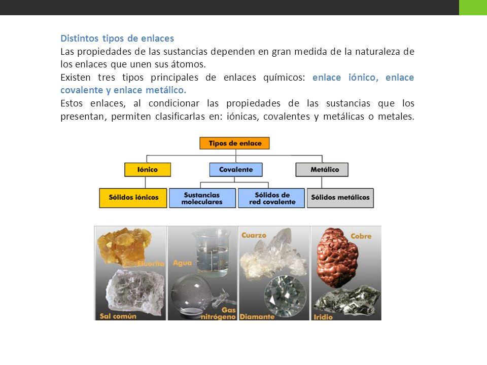 Distintos tipos de enlaces Las propiedades de las sustancias dependen en gran medida de la naturaleza de los enlaces que unen sus átomos. Existen tres
