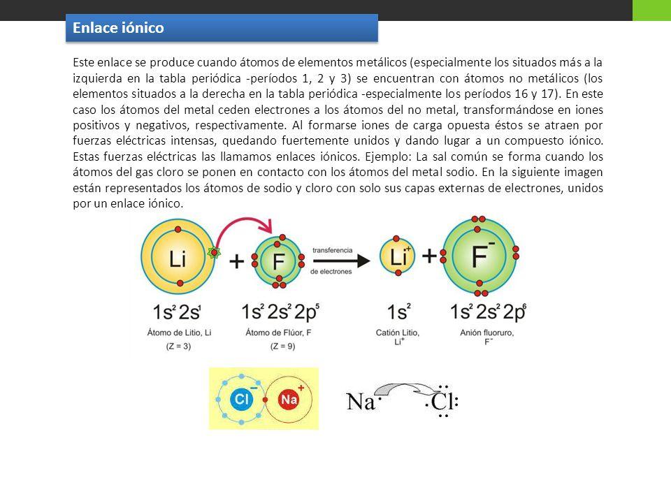 Este enlace se produce cuando átomos de elementos metálicos (especialmente los situados más a la izquierda en la tabla periódica -períodos 1, 2 y 3) s
