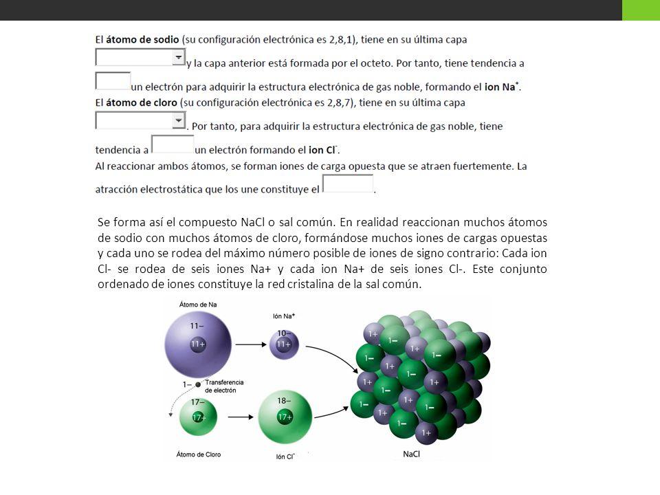 Se forma así el compuesto NaCl o sal común. En realidad reaccionan muchos átomos de sodio con muchos átomos de cloro, formándose muchos iones de carga