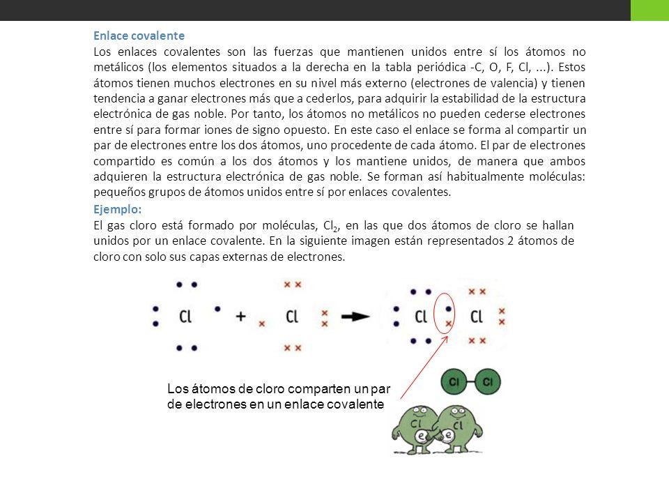 Enlace covalente Los enlaces covalentes son las fuerzas que mantienen unidos entre sí los átomos no metálicos (los elementos situados a la derecha en