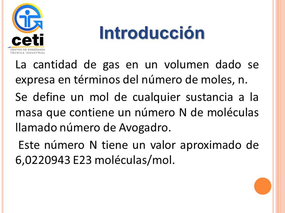 La cantidad de gas en un volumen dado se expresa en términos del número de moles, n.