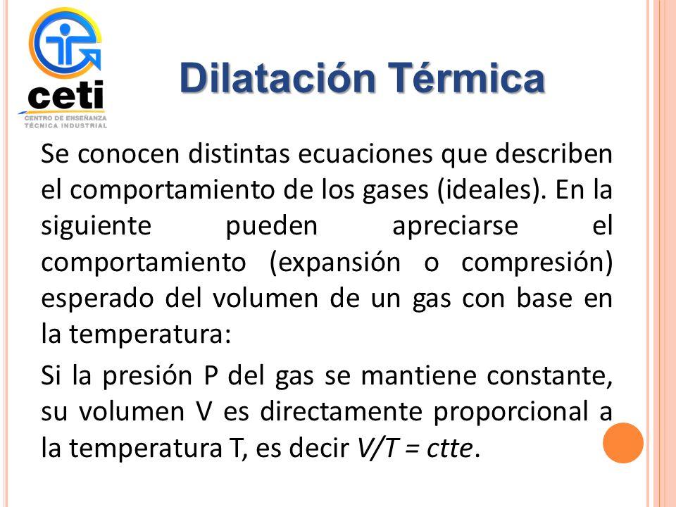 Se conocen distintas ecuaciones que describen el comportamiento de los gases (ideales).