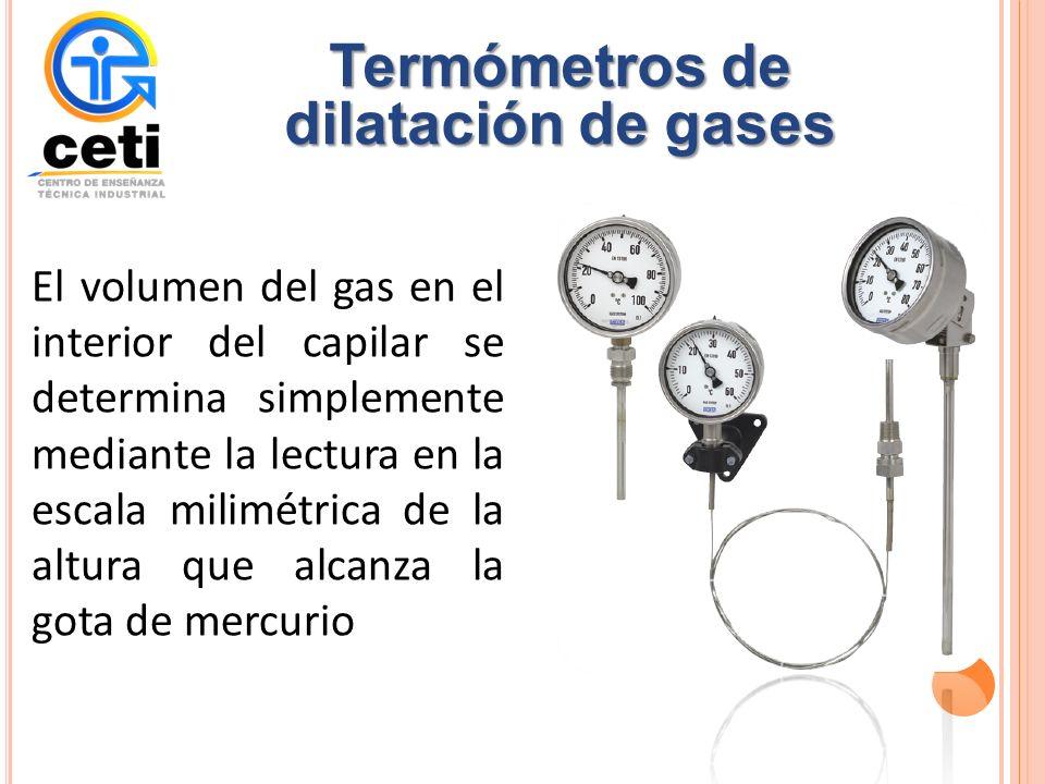 El volumen del gas en el interior del capilar se determina simplemente mediante la lectura en la escala milimétrica de la altura que alcanza la gota de mercurio Termómetros de dilatación de gases