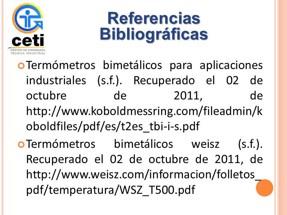 Termómetros bimetálicos para aplicaciones industriales (s.f.).
