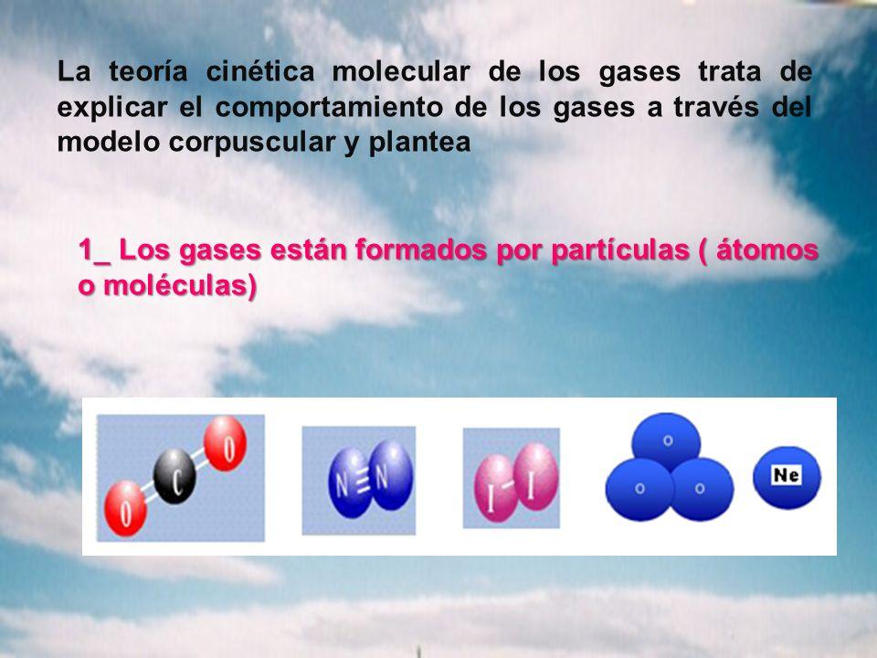 La teoría cinética molecular de los gases trata de explicar el comportamiento de los gases a través del modelo corpuscular y plantea 1_ Los gases están formados por partículas ( átomos o moléculas)