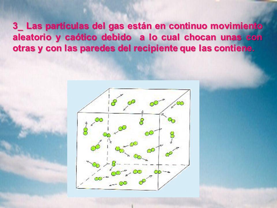 3_ Las partículas del gas están en continuo movimiento aleatorio y caótico debido a lo cual chocan unas con otras y con las paredes del recipiente que
