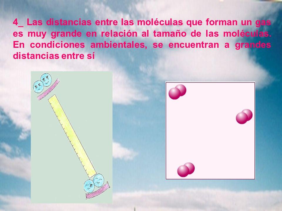 4_ Las distancias entre las moléculas que forman un gas es muy grande en relación al tamaño de las moléculas. En condiciones ambientales, se encuentra