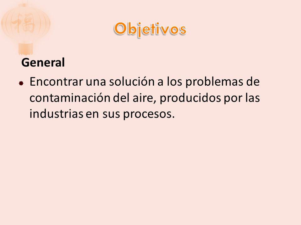 General Encontrar una solución a los problemas de contaminación del aire, producidos por las industrias en sus procesos.