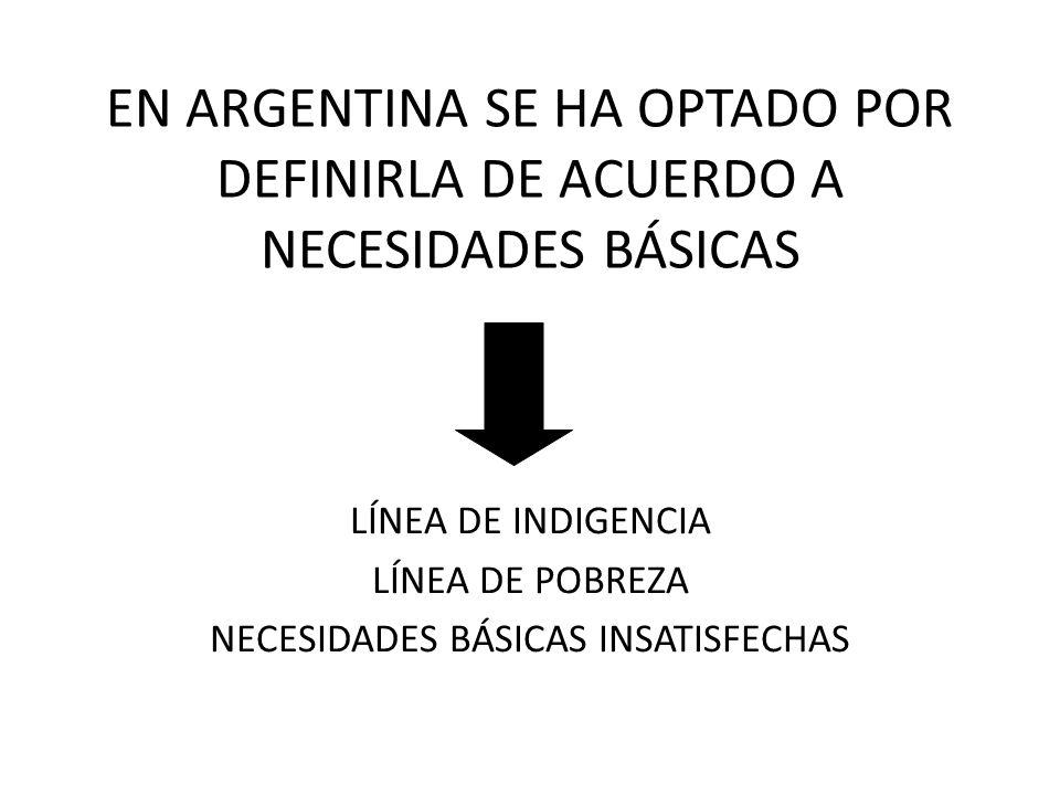 EN ARGENTINA SE HA OPTADO POR DEFINIRLA DE ACUERDO A NECESIDADES BÁSICAS LÍNEA DE INDIGENCIA LÍNEA DE POBREZA NECESIDADES BÁSICAS INSATISFECHAS