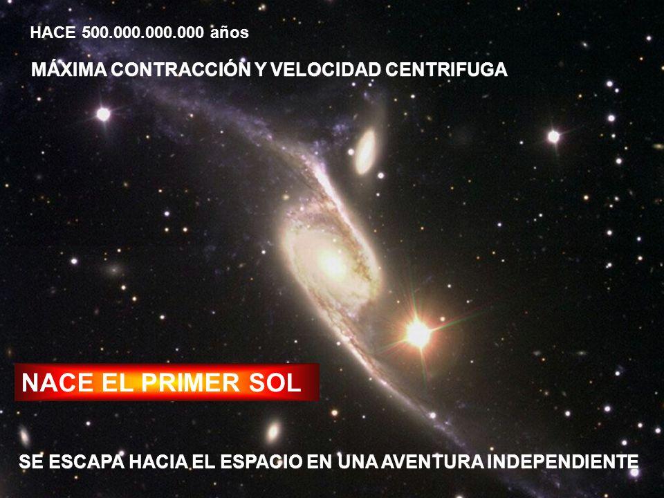 NACE EL PRIMER SOL HACE 500.000.000.000 años MÁXIMA CONTRACCIÓN Y VELOCIDAD CENTRIFUGA SE ESCAPA HACIA EL ESPACIO EN UNA AVENTURA INDEPENDIENTE