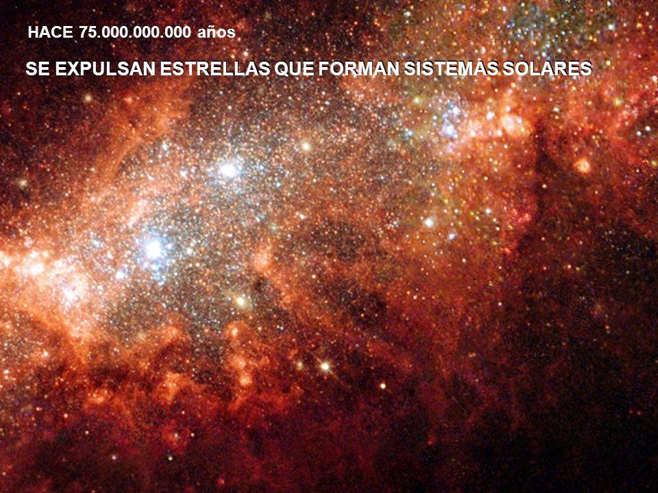 SE EXPULSAN ESTRELLAS QUE FORMAN SISTEMAS SOLARES HACE 75.000.000.000 años