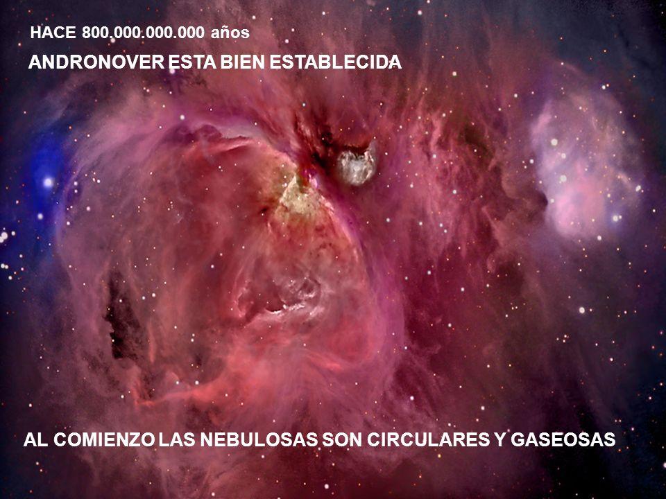 ANDRONOVER ESTA BIEN ESTABLECIDA HACE 800.000.000.000 años AL COMIENZO LAS NEBULOSAS SON CIRCULARES Y GASEOSAS