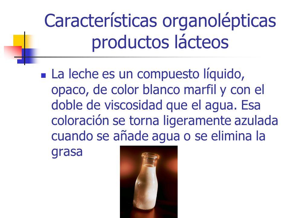 La leche es un compuesto líquido, opaco, de color blanco marfil y con el doble de viscosidad que el agua. Esa coloración se torna ligeramente azulada