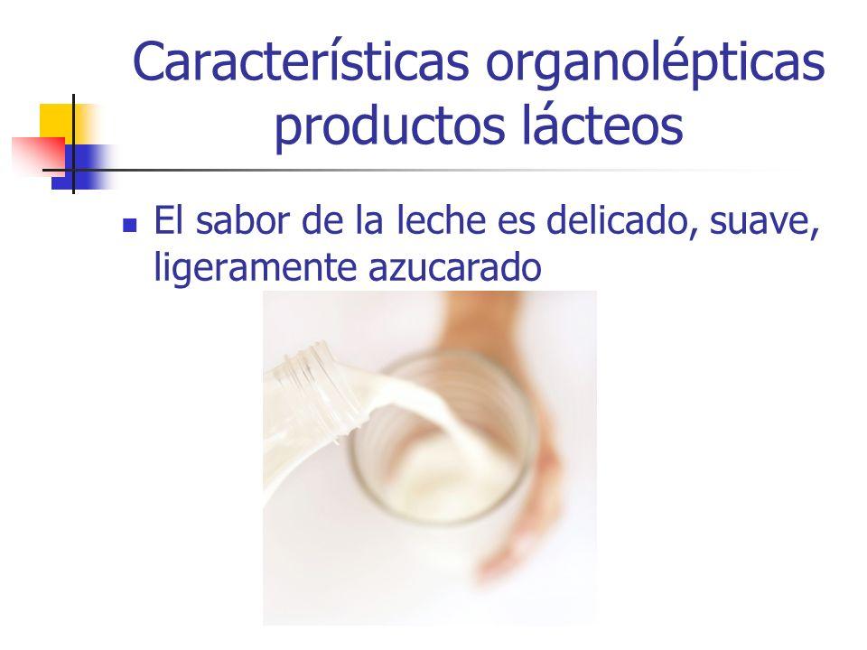 Características organolépticas productos lácteos El sabor de la leche es delicado, suave, ligeramente azucarado