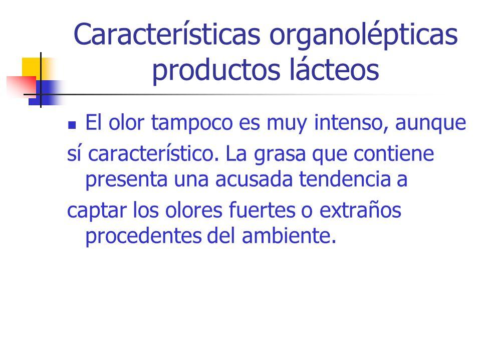 Características organolépticas productos lácteos El olor tampoco es muy intenso, aunque sí característico. La grasa que contiene presenta una acusada