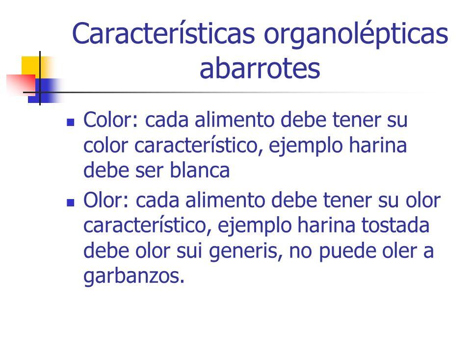 Características organolépticas abarrotes Color: cada alimento debe tener su color característico, ejemplo harina debe ser blanca Olor: cada alimento d