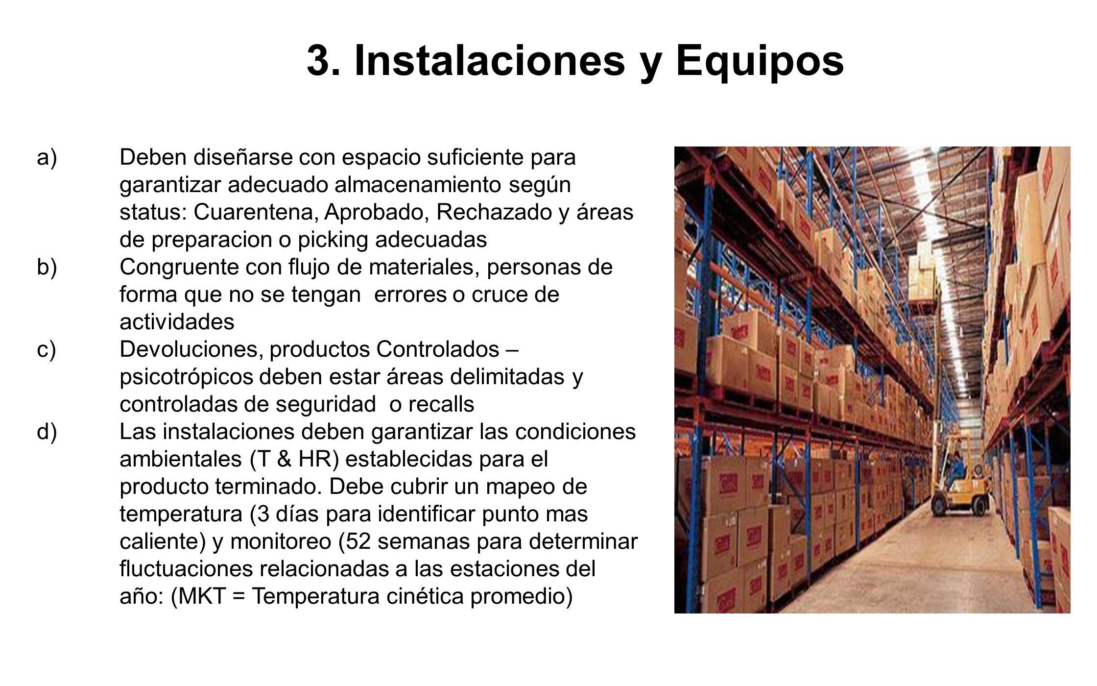 3. Instalaciones y Equipos a)Deben diseñarse con espacio suficiente para garantizar adecuado almacenamiento según status: Cuarentena, Aprobado, Rechaz