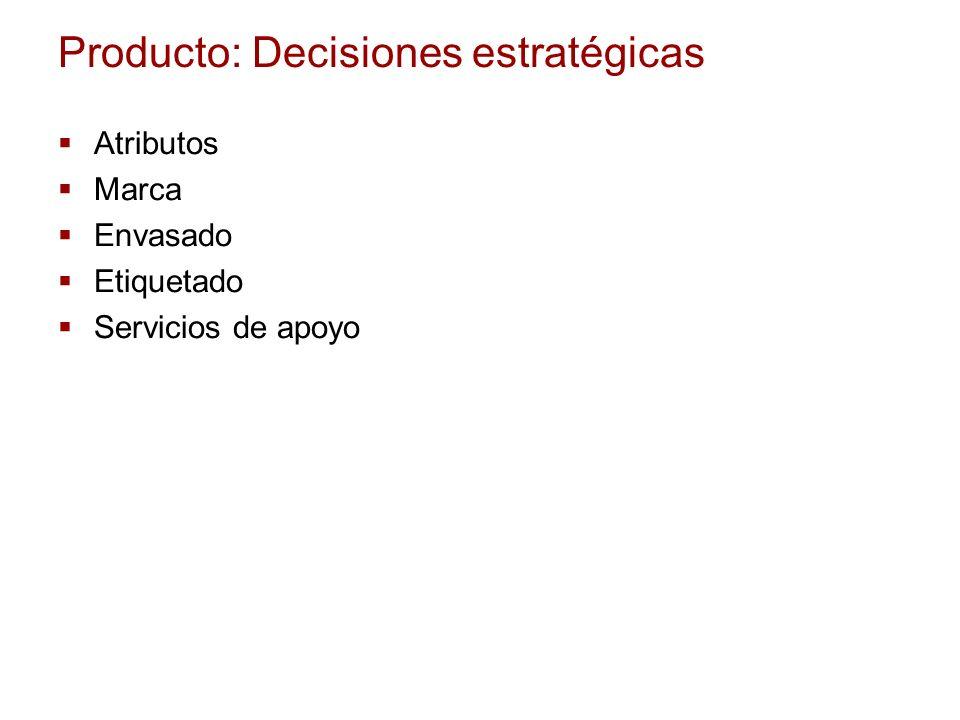 Producto: Decisiones estratégicas Atributos Marca Envasado Etiquetado Servicios de apoyo