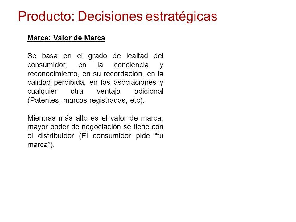 Producto: Decisiones estratégicas Marca: Valor de Marca Se basa en el grado de lealtad del consumidor, en la conciencia y reconocimiento, en su record