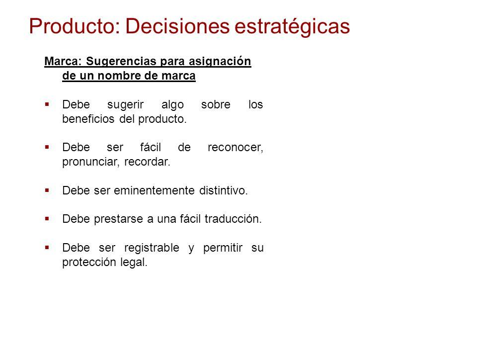 Producto: Decisiones estratégicas Marca: Sugerencias para asignación de un nombre de marca Debe sugerir algo sobre los beneficios del producto. Debe s
