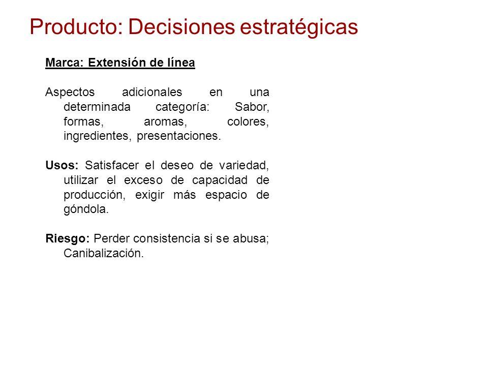 Producto: Decisiones estratégicas Marca: Extensión de línea Aspectos adicionales en una determinada categoría: Sabor, formas, aromas, colores, ingredi